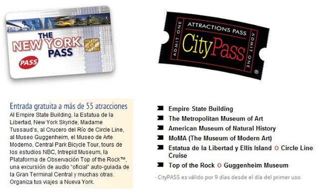 Bonos de atracciones en NY, New York Pass y City Pass