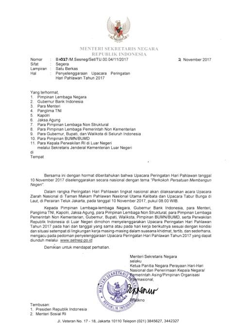 Surat Mensesneg Penyelenggaraan Upacara Peringatan Hari Pahlawan Tahun 2017