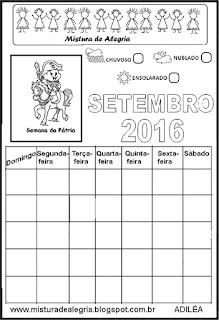 Calendário setembro 2016 colorir