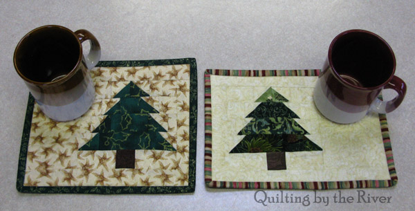 Christmas Tree mug rugs tutorial at Freemotion by the River