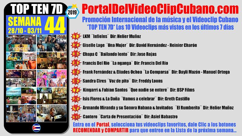 Artistas ganadores del * TOP TEN 7D * con los 10 Videoclips más vistos en la semana 44 (28/10 a 03/11 de 2019) en el Portal Del Vídeo Clip Cubano