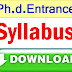 Ph.d.Entrance exam syllabus