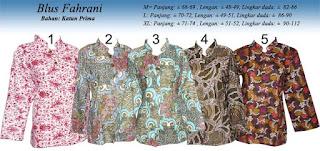Blus batik wanita lengan panjang modern fahrani
