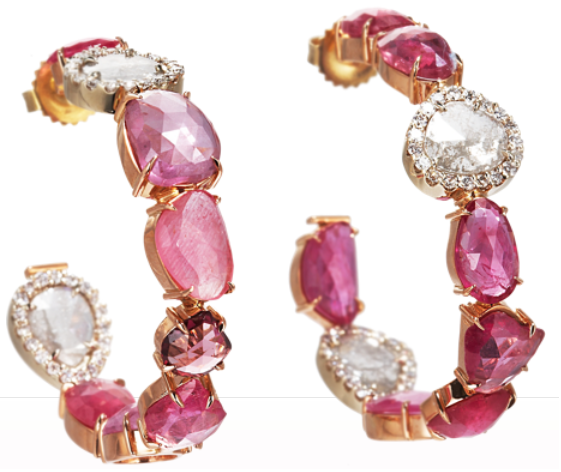 Sharon Khazzam Pink Sapphire & Diamond Slice Hoop Earrings: 18 karat rose and yellow gold hoops set with rose pink sapphires and diamond sapphires set with white diamond surrounds.