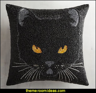 Beaded Black Cat Pillow  Gothic style bedroom decorating ideas - Gothic furniture - Gothic chic