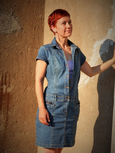 Hilfiger denim shirt dress over lavender crop top | Funky Jungle - Mindful fashion & quirky personal style blog