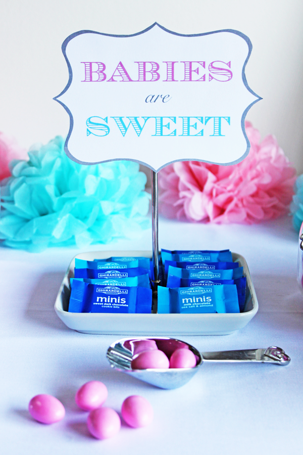 """Babies are Sweet"" gender-reveal party with candy buffet"
