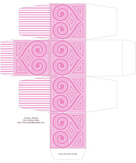 Printable 2x2 heart patterned boxes to print and make- 4 colors available