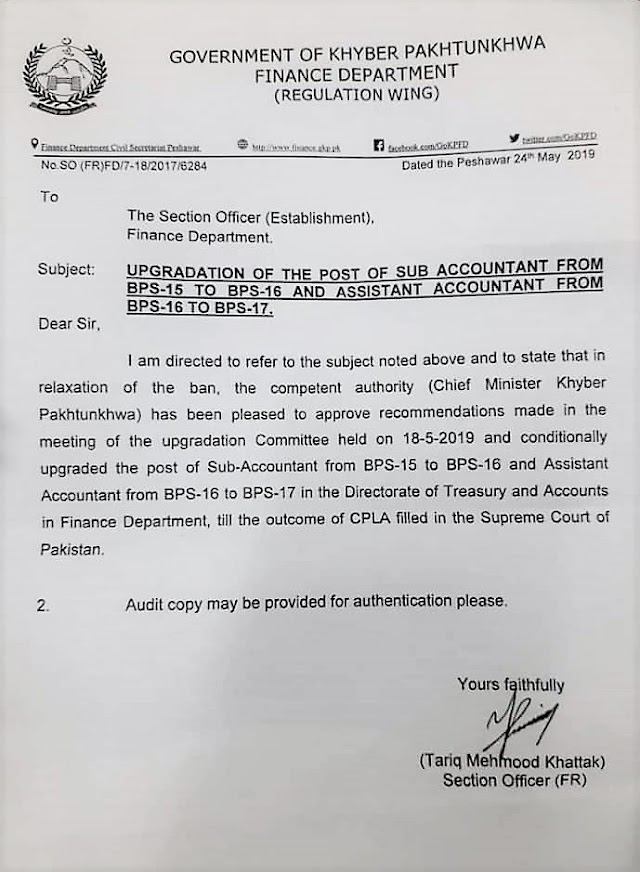 UP-GRADATION OF POSTS OF ACCOUNTANTS