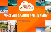 Logo Concorso EasyJet ''L'Europa è nelle tue mani'': vinci gratis 1 anno di voli ( 10 premi )