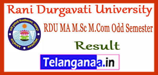 RDU Rani Durgavati University MA M.Sc M.Com 1st 3rd Semester Result 2017