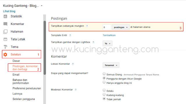 Cara Mengatur Jumlah Postingan di Setiap Halaman Blog