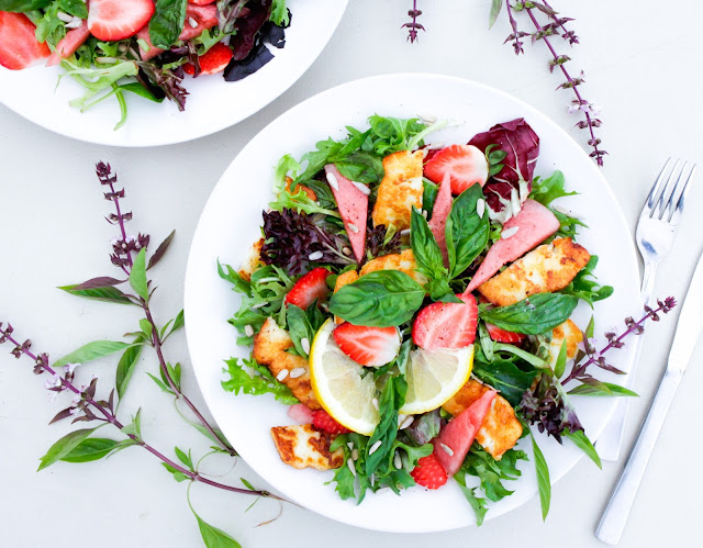 Halloumi with Strawberry, Watermelon and Basil Salad