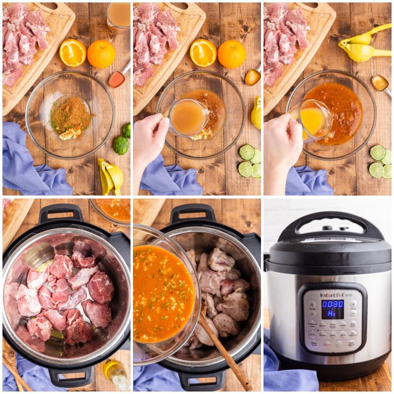 Six photos of the process of making Easy Keto Pork Carnitas.