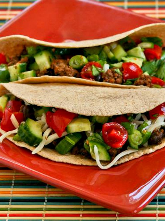 Spicy Beef and Black Bean Soft Tacos with Cucumber, Tomato, and Lime Salsa found on KalynsKitchen.com