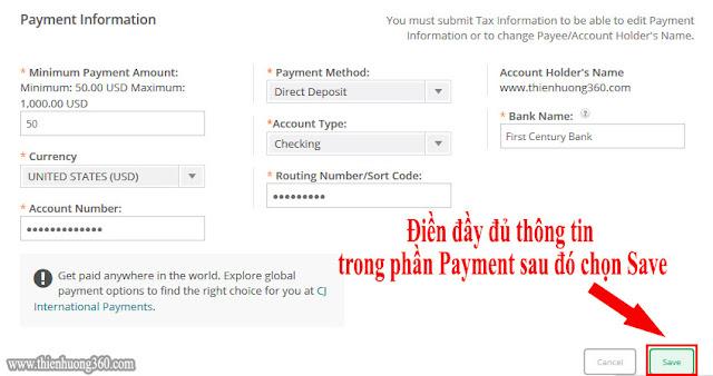 Điền đầy đủ, chính xác thông tin tài khoản nhận USD (ACH) Payoneer của bạn