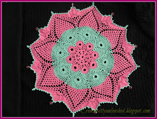 Crochet colorful doily with beads 1