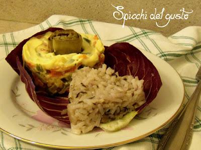 antipasto insalata russa con riso al radicchio