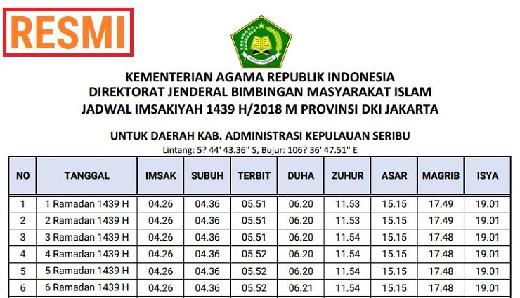 Jadwal Imsyakiyah 1439 H - 2018 M SEINDONESIA