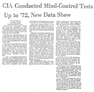 CIA Conducted Mind-Control Tests Up '72 - Washington Post 9-2-1977