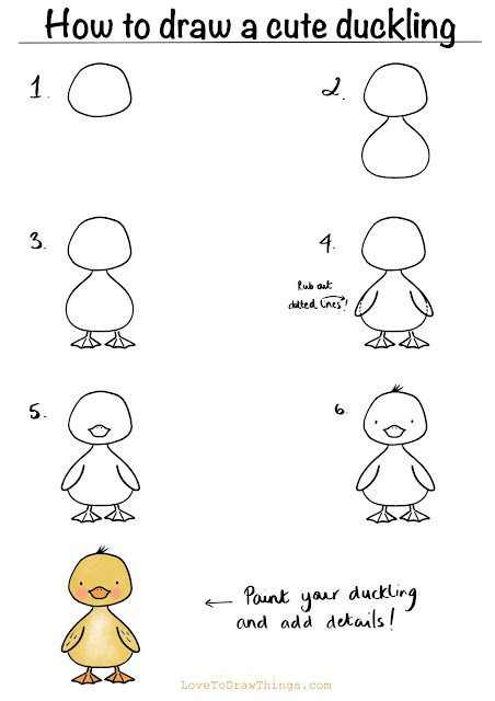 Easy duckling to draw. Easy step by step duckling tutorial