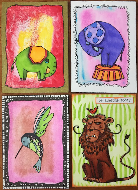 Elephant, Bird and Lion ATC (Artist Trading Card)