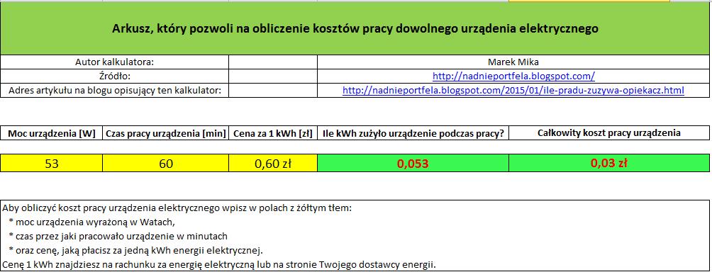 Koszt pracy instalacji solarnej przez godzinę.