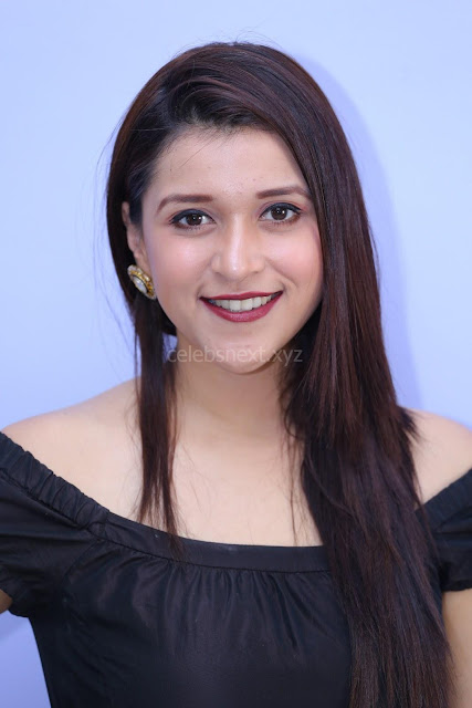 Mannara Chopra in Short Off Shoulder Black Dress ~  Exclusive 001.JPG