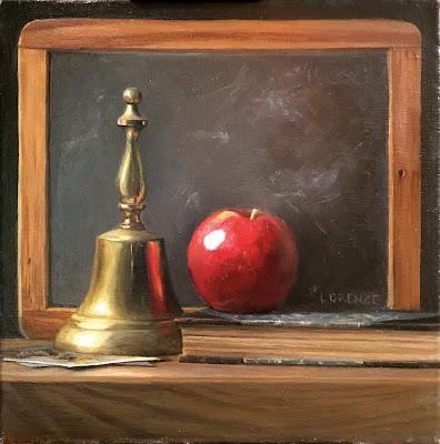 brass, oil painting, vintage chalkboard, still life
