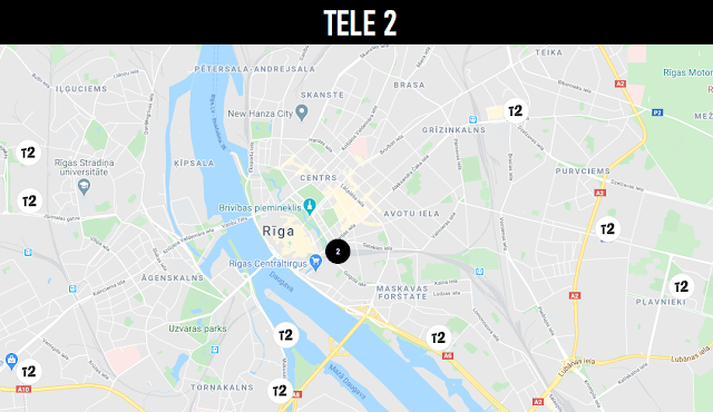 Map of TELE 2 communication salons in Riga