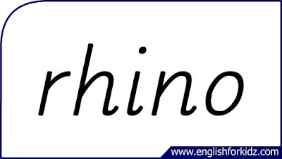 rhino flashcard, single word