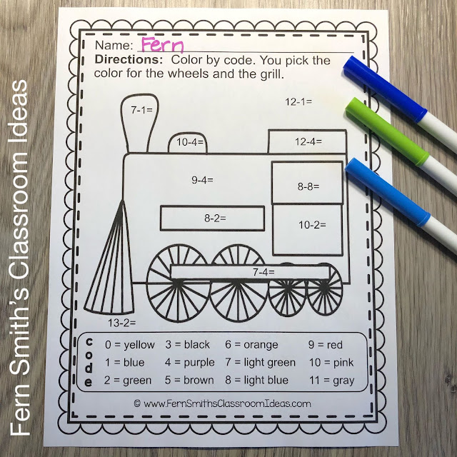 Christmas Polar Express Addition and Subtraction Color By Numbers Printables by Fern Smith's Classroom Ideas at TeacherspayTeachers, TpT.