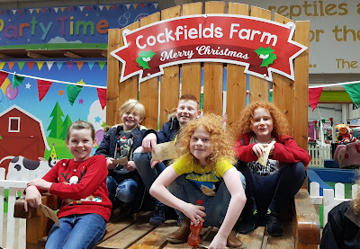 Cockfields Farm Christmas Experience Review giant chair with going on an adventure blog kids