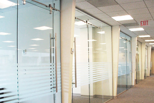 Glass sliding partition with art sandblasting