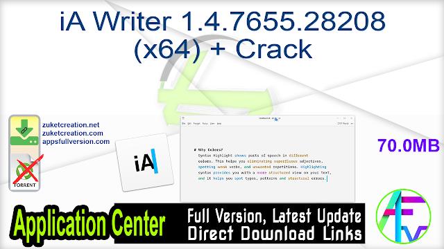 iA Writer 1.4.7655.28208 (x64) + Crack