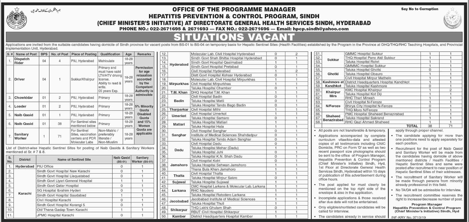 Advertisement for Health Department Jobs