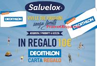 Logo Salvelox ''Vivi le tue passioni senza limiti'' e ricevi sempre buoni Decathlon da 10€ come premio certo!