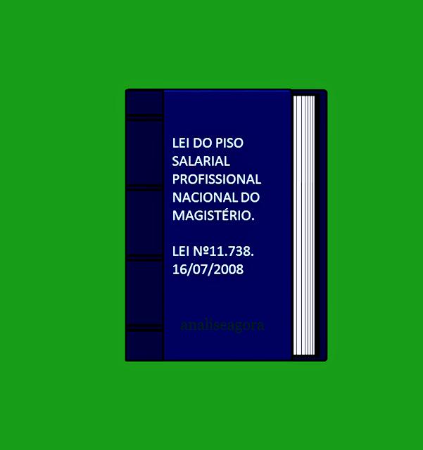 A imagem mostra o livro da lei do piso salarial profissional nacional do magistério é a lei de nº 11.738 de 16/07/2008.
