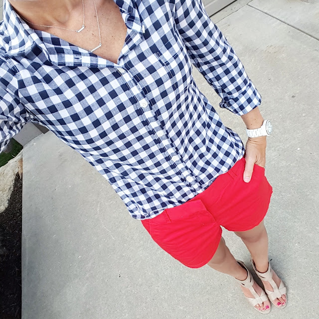 J. Crew Factory Gingham Button Down - 50% off! // J. Crew Factory Chino Shorts // Nine West Wedges (similar) // ILY Couture Necklace // Fossil Stella Crystal Watch
