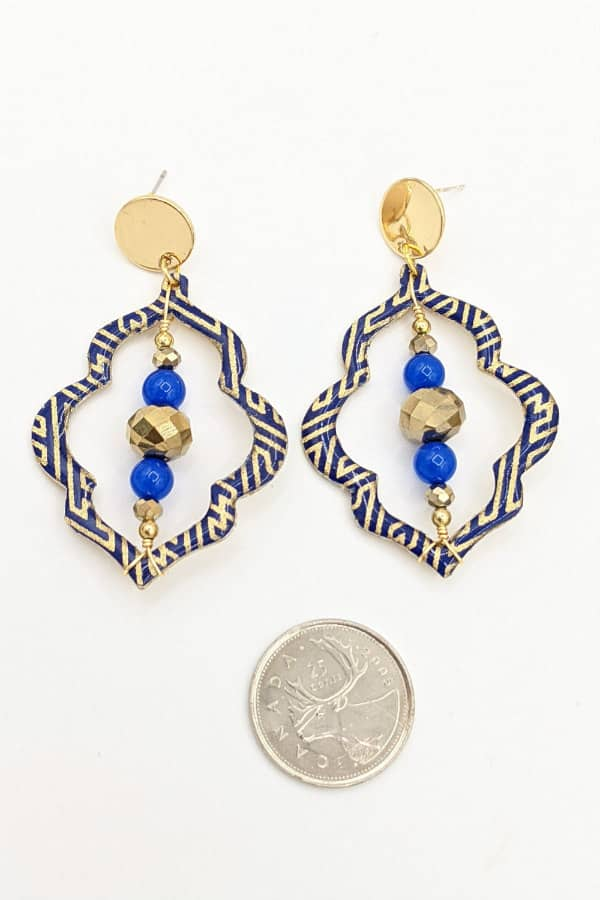 Pair of paper, brass, and beaded boho statement earrings