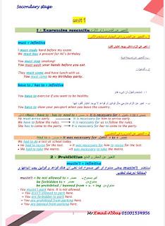 مذكرة لغة إنجليزية للصف الثاني الثانوي 2021 لمستر عماد عباس، مذكرة انجليزي ثانيه ثانوي منهج جديد