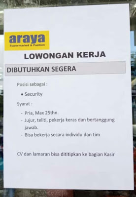 Security. Araya supermarket  and fashion.-infobelitung.online