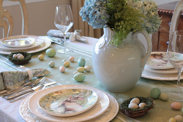 classic easter tablescape blue hydrangeas centerpiece pastels eggs nests gorgeous easter decor