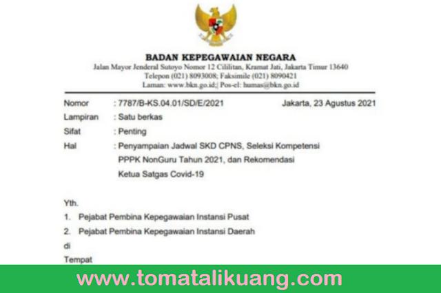 jadwal skd cpns 2021 seleksi kompetensi pppk non guru tahun 2021 surat edaran bkn ri tomatalikuang.com