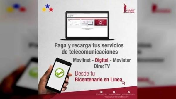 Entérese Banco Bicentenario del Pueblo aumenta límites para pago y recarga de servicios