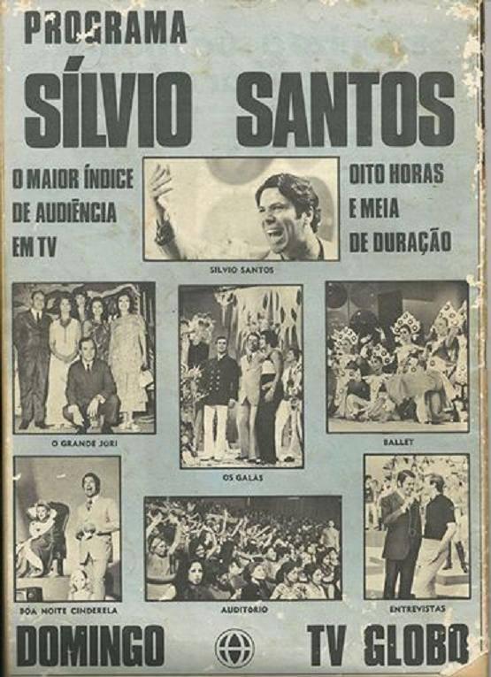 Propaganda antiga do programa Sílvio Santos na Rede Globo em 1969