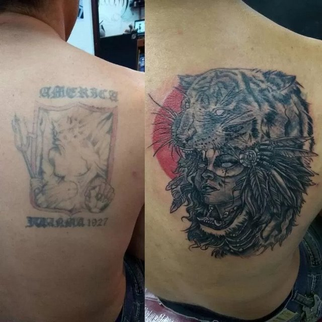 can you cover a black tattoo with color