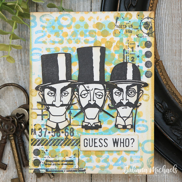 Guess Who Card by Juliana Michaels featuring Tim Holtz Stampers Anonymous Inquisitive Stamp Set and Gel Plate Printing