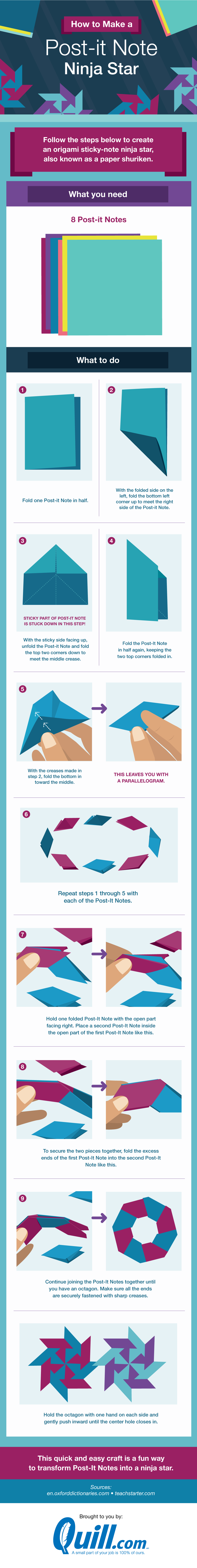 How to make a post-it note ninja star #infographic