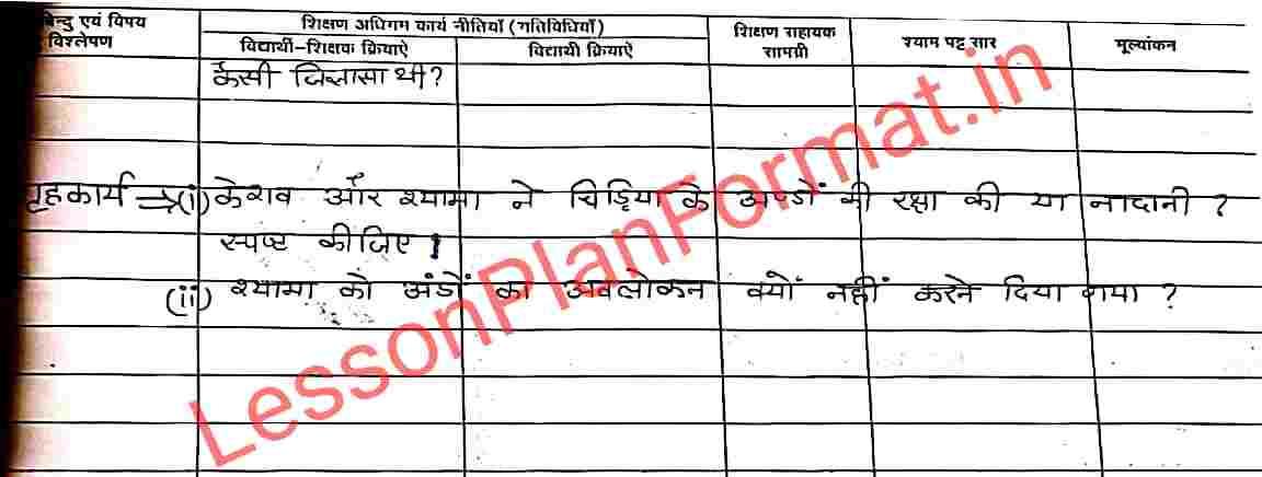 B.ed Hindi Lesson Plan for Class 7
